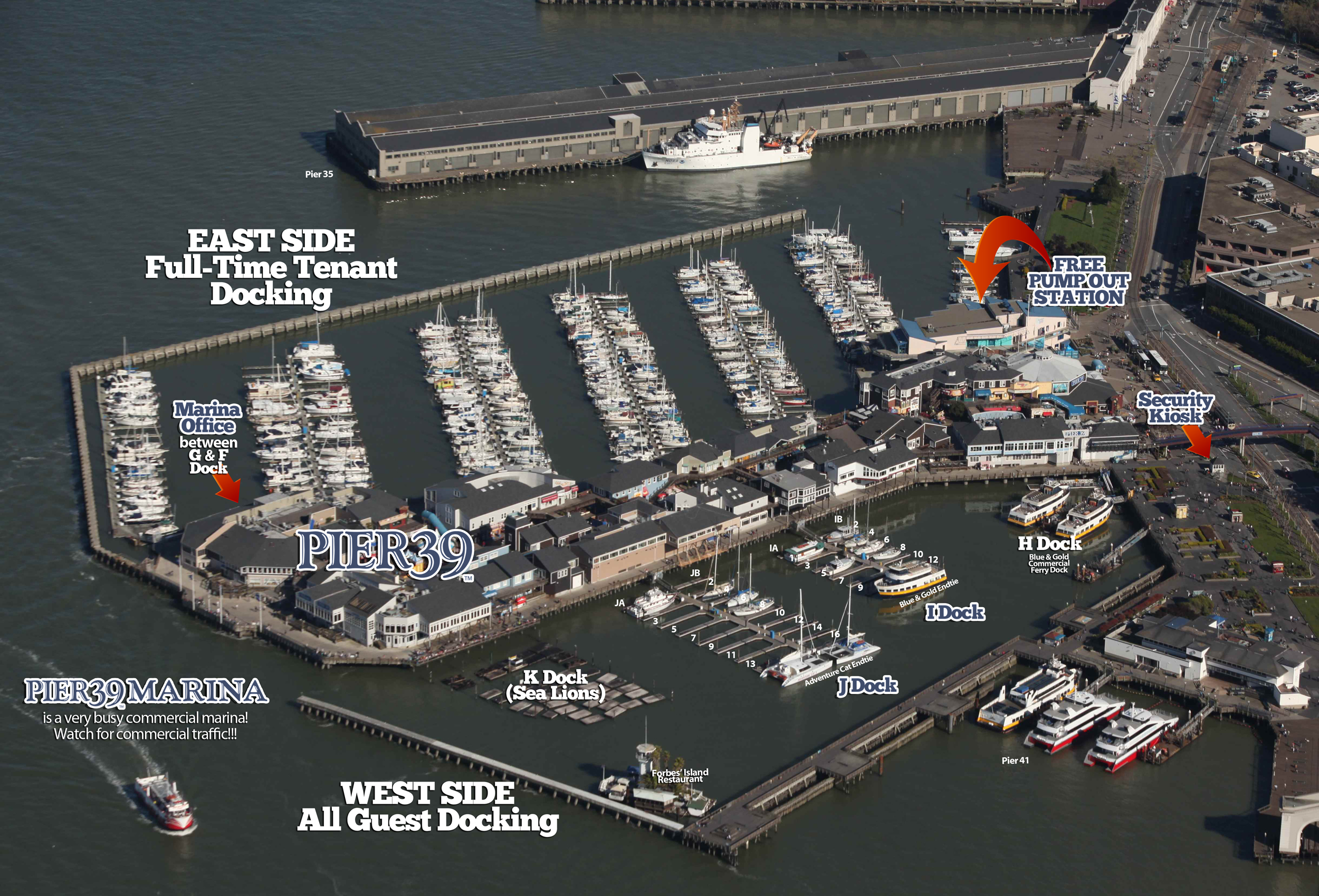 West Harbor Detail Map San Francisco Guest Docking at PIER 39