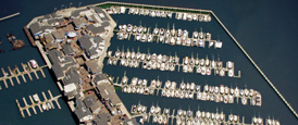 aerial view of PIER 39 Marina